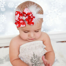 Baby Toddler Girl Christmas Snowflake Red Bow Headband Feather Hairband Headwear