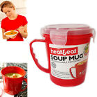 Soup Mug Microwavable Handy Red Heat & Eat Container (BPA Free) Spill-Proof Bowl