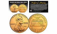 TRIBUTE 1943 World War II Steel PENNY Coin Clad in Genuine 24KT GOLD (Lot of 3)
