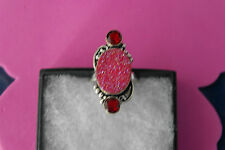925 Silver Rings With Garnet And Pink Druzi Gems Size R -U S Size 8.34 Gr.7.9