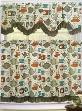 TEA COFFEE CUP KETTLE POT UTENSILS KITCHEN WINDOW 3 PC SET TIERS VALANCE CURTAIN