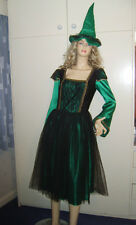 Ladies Halloween Classic Witch Black & Green Fancy Dress Costume M 10-12 USED