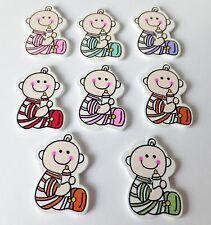 8pcs New Wooden Embellishments, cute sitting baby, card making, scrapbooking,