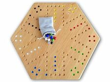 """Large Oak Wood Hand-Painted 24"""" Aggravation Board Game, Double-Sided"""