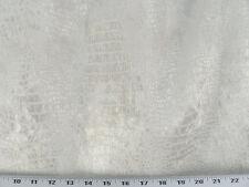 Drapery Upholstery Fabric Velvet - Low Pile Embossed Crocodile - White