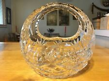 "HAND CUT 24% LEAD CRYSTAL CLEAR 6"" BOWL WITH HANDLE - MADE IN POLAND"