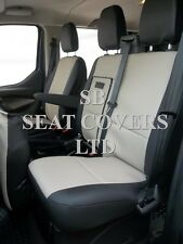 TO FIT A FORD TRANSIT CUSTOM VAN SEAT COVERS, 2013, BIEGE/ BLACK LEATHERETTE
