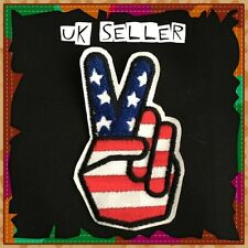 2 x USA American Flag Peace Sign Hand Iron / Sew On Embroidered Cloth Patch