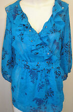 PER UNA blouse size 12 Bright turquoise with turquoise &black flowers  Worn once