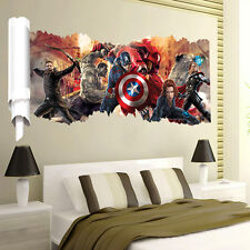 3D Avengers Marvel Thor Iron Man Hulk Wall Art Sticker Decal Kids Boy Room Decor
