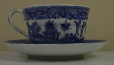 Blue and White Saucer & Cup Set Japan #zzz