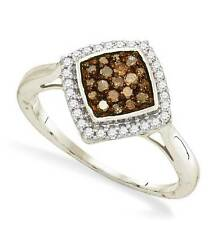 Great Design! 100% 10K White Gold Chocolate Brown & White Diamond Ring .33ct tw