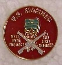 Hat Lapel Push Tie Tac Pin USMC Mess With the Best NEW