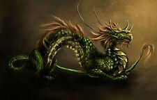 Gran impresión enmarcado-verde escamosa Japonesas Dragon (Imagen Arte Fantasía oriental)