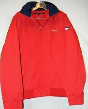 TOMMY HILFIGER RED YACHT JACKET LINED OUTERWEAR HOODIE WATERSTOP MENS SIZE S