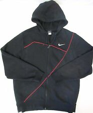 NIKE Mens COTTON ZIP UP HOODIE JACKET/SWEATSHIRT BLACK & RED EUC Sz XXL 2XL