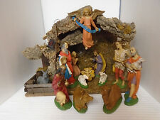 Vintage 14 Piece Large Creche Bisque Christmas Nativity Scene W/ Music Box Italy