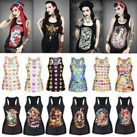 Women's Princess Tattoo Gothic Singlet Racerback Vest Tank Tops Sretchy Blouse