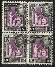 ST VINCENT 1938 £1 PURPLE & BLACK IN BLOCK OF FOUR SG 159 FINE USED.