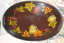 Home Decor FOLK ART Craft  Hand Painted Tray Grapes Leaves Handles Kitchen Bar