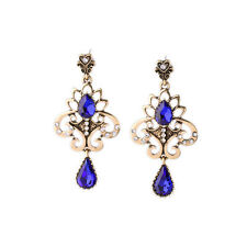 NEW Exquiste Anthropologie Victorian Abstract Crown Blue Gemmed Heart Earrings