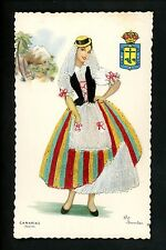 Embroidered clothing postcard Artist Elsi Gumier, Spain Canary Islands woman #18