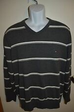 TOMMY HILFIGER Men's Fashion Sweater LARGE Gray White Stripes Pull Over V-Neck