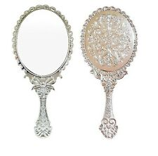 Antique Oval Flower Embossed Hand held Mirror Cosmetic Purse Makeup Silver M