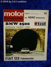 Motor Rundschau 10/69 BMW 2500 Fiat 128 ADAC Ei