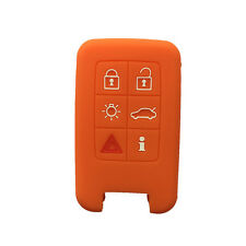 Orange 6 Buttons Silicone Remote Key Fob Skin Cover Protector Jacket for Volvo