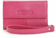 NEW WOMENS BODHI ITALIAN LEATHER WRISTLET iPHONE SMARTPHONE CARD WALLET PINK