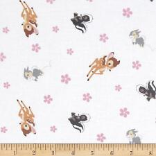 """Bambi Woodland Dreams Toss White 100% cotton 43"""" fabric by yard 36"""""""
