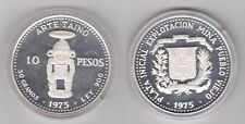 DOMINICAN REPUBLICA - RARE SILVER PROOF 10 PESO COIN 1975 YEAR KM#38 TAINO ART