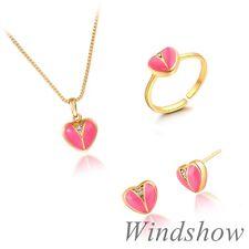 Girls Kids 18K Gold GF Enamal Love Heart Stud Earrings Necklace Jewelry Sets