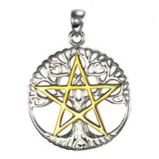 Sterling Silver Cut Out Tree Pentacle Pentagram Pendant Gold Plated Dryad Design