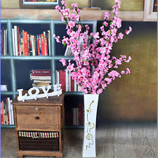 "50"" Artificial Cherry Plum Home Decor Pink Peach Blossom Branch Silk Flower #GCT"