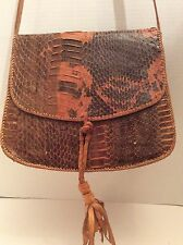 Vintage 1970's Genuine Snakeskin +  Rawhide Leather Handbag Hobo Bag Tassel Boho