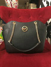NWT MICHAEL KORS JET SET TRAVEL SAFFIANO LARGE CHAIN SHOULDER TOTE BAG IN BLACK