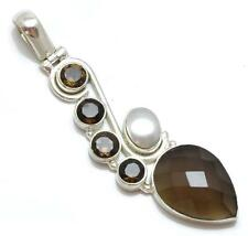 Smokey Quartz, Pearl Pendant Solid 925 Sterling Silver Jewelry IP21836
