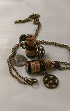 Witch's brew vial vintage gothic pentagram necklace