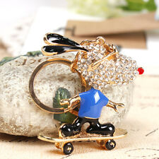 Roller Skates Glasses Dog Lovely Pendant Charm Crystal Purse Bag Key Ring Chain