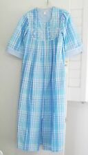 Miss Elaine Embroidered Plaid Seersucker Robe Blue 869636X Sz 3X - NWT