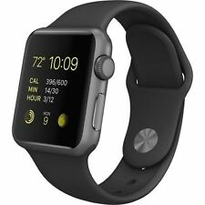 NEW! Apple WATCH SPORT 42mm Space Gray Aluminum Case Black Sport Band