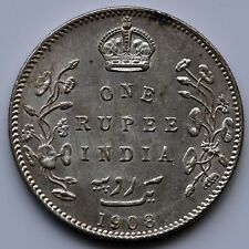 Edward VII 1908 Silver India One Rupee.    T3