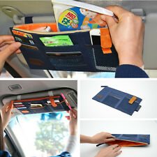 Blue Car Sun Visor Paper Tissue Box CD Holder Bag Pocket Card Phone Organizer