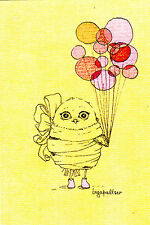 Little owl with balloons by Inga Paltser Russian modern postcard