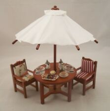 Garden Table w/ Umbrella Chairs & Serttings 1.814/1 miniature 1/12 scale Reutter