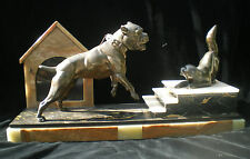 STATUE REGULE ART DECO CHIEN BOULEDOGUE ET CHAT ONYX MARBRE