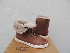 UGG CHESTNUT CROFT LUXE QUILT LEATHER SHEEPSKIN ANKLE BOOTS, US 8.5/ EU 39.5 NIB