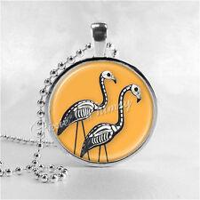 HALLOWEEN SKELETON FLAMINGO Necklace, Flamingo Necklace, Flamingo Jewelry, Glass